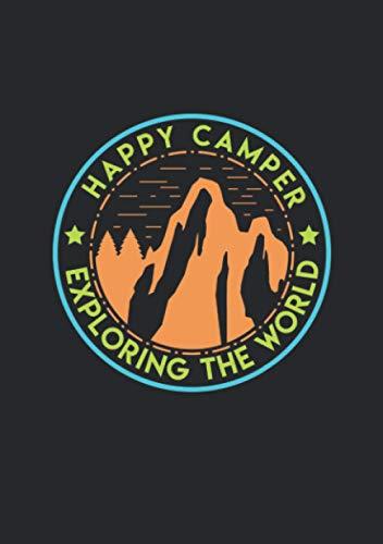 Notizbuch A5 kariert mit Softcover Design: Happy Camper exploring the World - Glücklicher Camper: 120 karierte DIN A5 Seiten