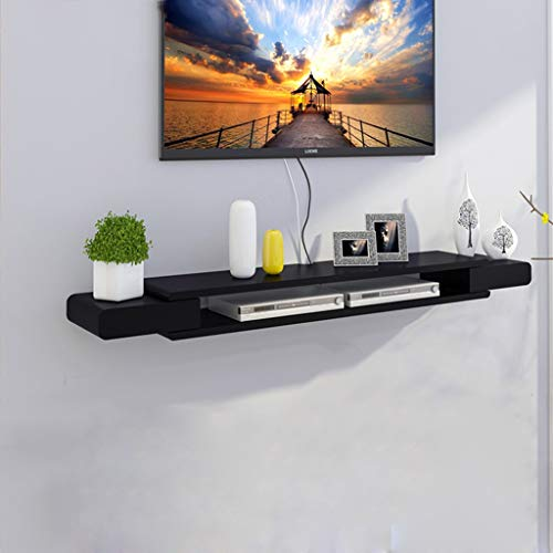 Wandplank Drijvende Plank Wandmontage TV Kast TV Plank Set Top Box Router Foto Speelgoed Opslag Plank TV Console TV Stands Wanddecoratie Plank, Black-1.3m
