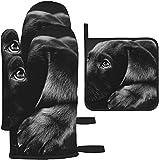 Manoplas y agarraderas para Horno, Safari Cat Kittens Animal Art Print Guante para Hornear y Soporte para ollas para cocinar BBQ, 3 Piezas Set-Black Labrador Puppy Art Print