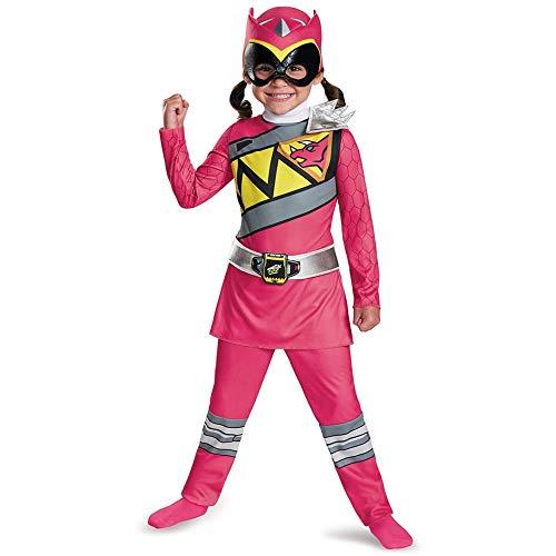 Disguise Power Rangers Costume For Girls Pink Dino Charge Classic Kids Beast Morphers Ninja Dinosaur Pink Ranger For Toddler Medium 3T-4T (82737M)