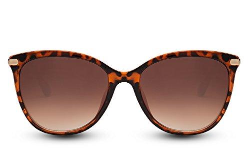 Cheapass Sonnenbrille Cat-Eye Schwarz Braun Designer-Brille Katzenaugen Leo-Print Horn-Muster UV-400 Metall Damen Frauen
