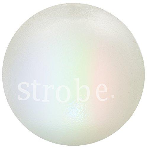 Planet Dog Orbee-Tuff Strobe - Bola para Juegos Interactivos con Perros - con Luz Led Parpadeante - Producto De EE.UU. - Brilla En La Oscuridad - 7,5Cm, Un Tamaño, Blanco