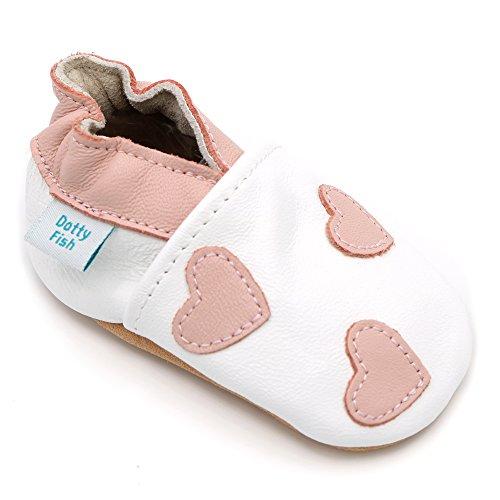 Dotty Fish weiche Leder Babyschuhe. Rutschfesten Wildledersohlen. 12-18 Monate (21 EU). Weiße und rosa Herzen.