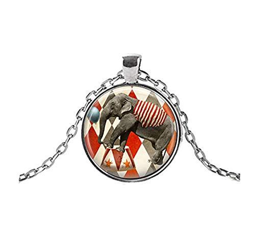 Sunshine Circus Jewelry, Collar de Elefante, Tres Anillos de Carnaval con Colgante de Arte de Carnaval