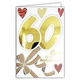 Afie 69-2138 Carte Anniversaire 60 ans Femme - Nœud Ruban Cadeau Cœurs