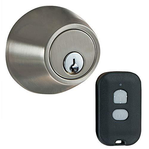 MiLocks WF-02SN Digital Deadbolt Door Lock with Keyless Entry via Remote Control for Exterior Doors, Satin Nickel