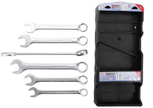 BGS 32400 | Maul-Ringschlüssel-Satz | 6-tlg. | extra lang | SW 34 - 50 mm | inkl. Kunststoff-Halter | Gabelringschlüssel