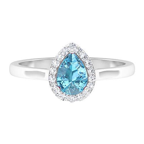 Anillo solitario de aguamarina en forma de pera de 5 x 7 mm, con forma de pera, anillo de halo de diamante HI-SI, anillo de compromiso en forma de lágrima, 14K Oro