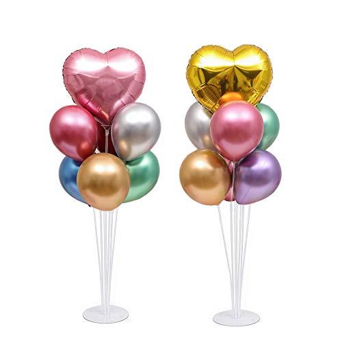 NAOLIU Palloncini Festa, Palloncini Compleanno con Supporti per Palloncini (Palloncino d'Amore Dorato + Rosa, 2 Kit)