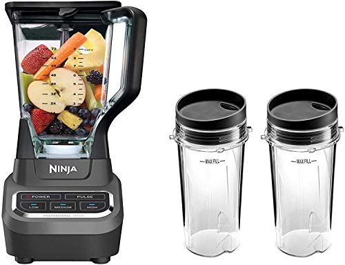 Ninja Professional 72oz Countertop Blender with 1000-Watt Base and Total Crushing Technology for Smoothies, Ice and Frozen Fruit (BL610), Black (1000W Blender with 16oz to-Go Cups)