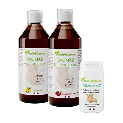 DETOX | Cure Draineurs Ananas 500ML et Fruits Rouges 500ML | Complexe 90 gelules | Aide à la Perte de Poids | Un guide alimentaire Offert