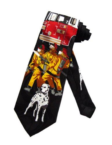 Steven Harris Firefighters Truck Dalmatian Necktie - Black - One Size Neck Tie