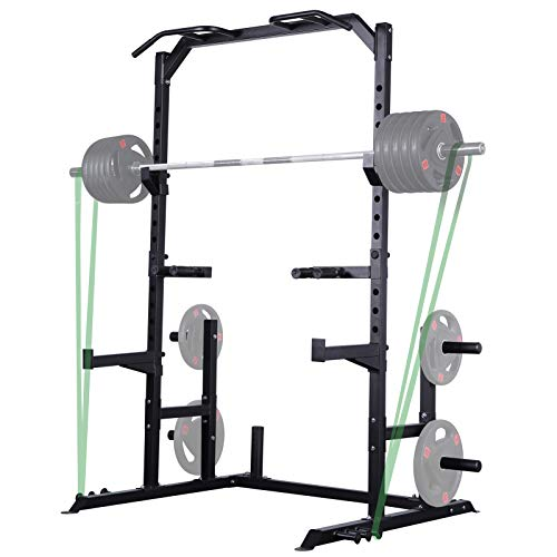 Mikolo Multi-Function Power Rack- Exercise Squat Stand Rack with J-Hooks, Dip Bar, Exercise Bands Attachment, and Other Accessories (2021 Version)
