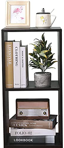 Etnicart Doble cubo de decoración de almacenamiento, librería, estantería wengue, 35 x 30 x 70 cm, madera MDF, estantería de diseño, oficina, entrada, salón 🔥