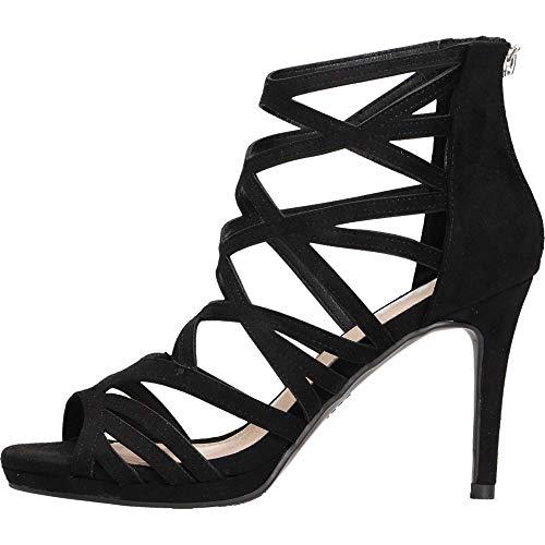 XTI 35186.0, Zapatos de tacón con Punta Abierta para Mujer, Negro, 38 EU