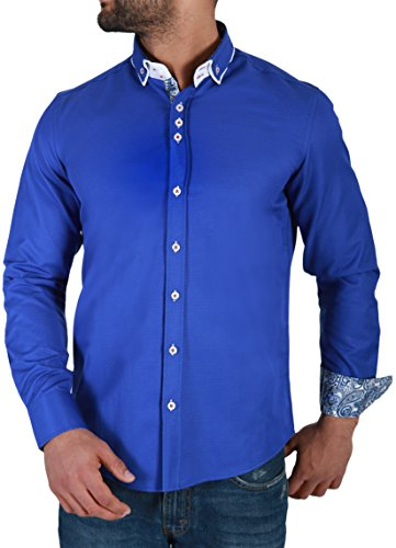 Karl's People Herren Hemd Casual Streetwear Style Men's Fashion Paisley Muster Detail K-100, Größe XL, Farbe sachs