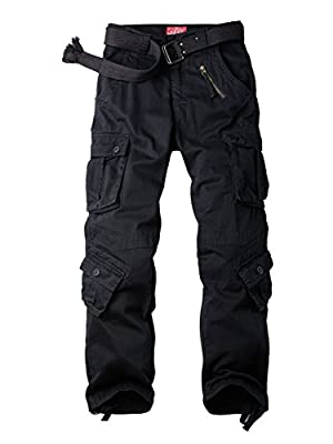 Women's Cotton Casual Military Army Cargo Combat Work Pants with 8 Pocket Black US 18