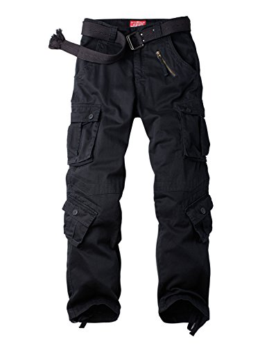 Women's Cotton Casual Military Army Cargo Combat Work Pants with 8 Pocket Black US 10