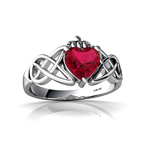 14kt White Gold Lab Ruby 6mm Heart Claddagh Celtic Knot Ring - Size 8