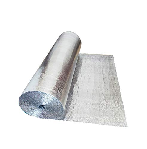 FMLFS Aislamiento Aislamiento Termico Aluminio Reflexivo para Techo Rollo Aislante Térmico para techos, Paredes, contadores de Agua, cajones de persiana, automoción y Puertas de Garaje(Size:1x30m)