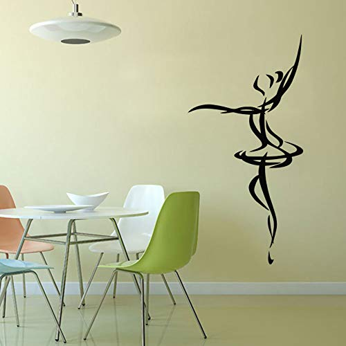 JXWH 59 cm x 118 cm Bailarina Etiqueta de la Pared PVC Adhesivo móvil Papel Tapiz decoración del hogar Danza Pared Arte Mural