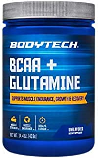 BodyTech BCAA Glutamine Supports Muscle Endurance, Growth Recovery with Essential Amino Acids (14.01 Ounce Powder)