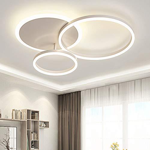 LED Lámpara De Techo, Luces De Techo Moderno De Tres Círculos, 54W 6000K Luz Blanca, Apto Para Sala De Estar Dormitorio, Lámpara De Techo De Habitación Infantil, L65cm * W50cm * H8cm