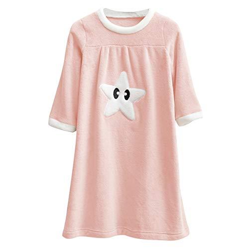 DEBAIJIA Ragazze Camicia da Notte 90-170CM Bambine Vestaglie Abito da Notte Pigiami Indumenti Notte Spessore Flanella Morbida (Rosa Brillante-100)