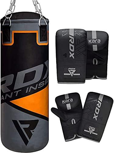 RDX Kinder Boxsack Set Gefüllt Kickboxen MMA Kampfsport Muay Thai Boxen mit Kette Training Handschuhe Kampfsport Schwer Junior 2FT Punching Bag (MEHRWEG)
