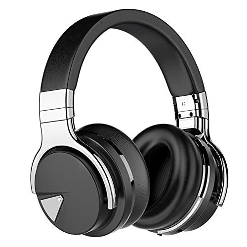 Tapela E7 Auriculares con cancelación Activa de Ruido Bluetooth con micrófono Auriculares inalámbricos de Graves Profundos sobre la Oreja, Negro