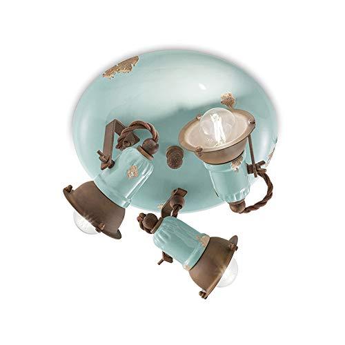 Plafón 3 luces C1679 Loft 3 luz acabado vintage azul Ferroluce