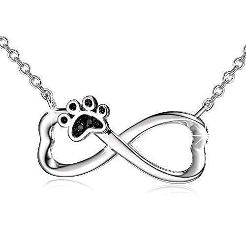 Collares Mujer Plata de Ley 925 Joyería Mujer Perro Cachorro Paw Infinito Colgante Collar con Cadena de 18'