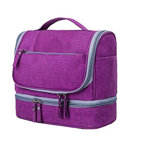 Lavar Acabado Bolsa para la Mujer Neceser colgante del recorrido de aseo Organizador cosmético del bolso impermeable Dop Kit de gran capacidad en seco y en húmedo de separación de bolsas (púrpura)