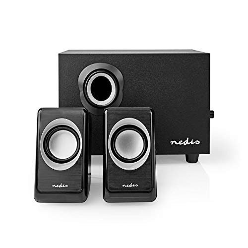 Nedis PC Speakers with Subwoofer for Computer, Gaming and Laptop, PC Speakers 2.1 33 W, Wired with USB and 3.5 mm Jack, Black