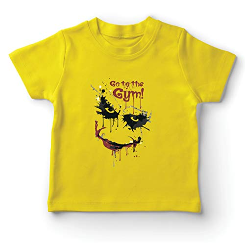 lepni.me Camiseta para Niño/Niña IR al Gimnasio Asustado Cara de Payaso (12-13 Years Amarillo Multicolor)