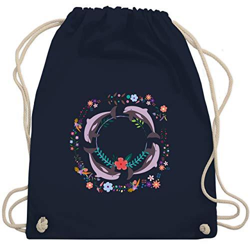 Shirtracer Vintage - Vintage Delfine Blumen Dolphin Flowers - Unisize - Navy Blau - turnbeutel delphine - WM110 - Turnbeutel und Stoffbeutel aus Baumwolle