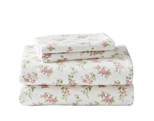 Laura Ashley Home | Flannel Collection | 100% Premium Cotton Bedding Sheet Set, Pre-Shrunk & Brushed For Extra Softness, Comfort, and Cozy Feel, Full, Audrey Pink