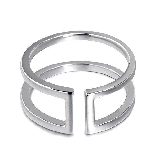 Anillo de plata minimalista para mujer, barras paralelas, anillo abierto ajustable, anillo geométrico plata de ley 925 para mujer niña hombres