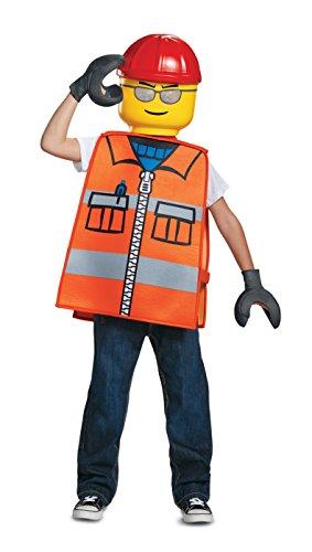 Generique - Lego-Bauarbeiter Karnevals-Lizenzkostüm für Kinder orange-bunt