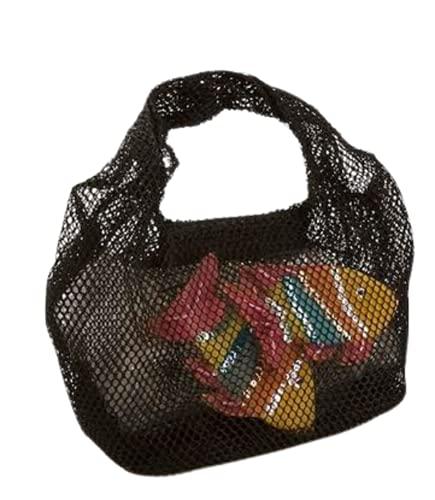 Generico KONTESSA Borsa da donna piccola a mano in rete con decorazione pesci colorati, nero. Interamente realizzata a mano