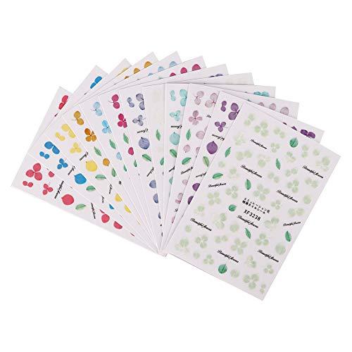12 pegatinas 3D para decoración de uñas, tiras autoadhesivas de flores secas para decoración de uñas, pegatina de moda para uñas DIY para mujeres y niñas