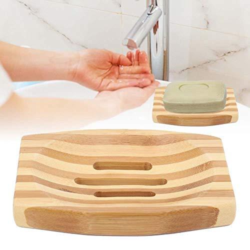 QWEASD 1 stuk natuurlijk bamboe zeepbakje afdruipbak opbergbak zeepbakje in strepen stijl van de badkamer