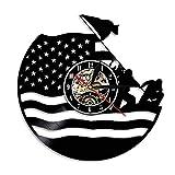 Orologio da parete con disco in vinile dell'esercito americano Guardia costiera Bandiera americana Navy Marines Orologio decorativo da veterano vintage Regalo di pensionamento militare-Senza LED