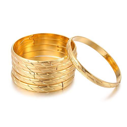 MHOOOA 6 Stücke Afrikanische/Arabische Frauen Hochzeit Armreifen Armbänder Gold Farbe Armreifen Für Äthiopische Schmuck Party Geschenke