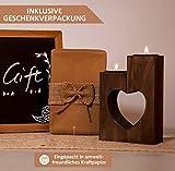 Plogis Herz Teelichthalter aus Holz - Set aus 2 Dekorativen Kerzenständern | Wohnungs-Deko & Romantische Kerze | Geschenk für Freundin, Hochzeit, Familie | 15cm Groß - 4