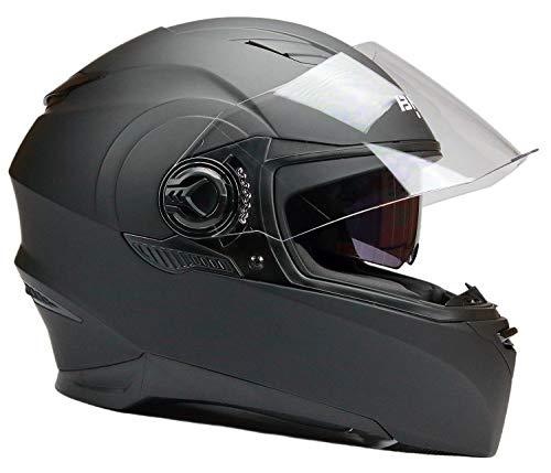 BNO Integralhelm Motorradhelm Helm F06M Matt Schwarz Größe S -XL (M)