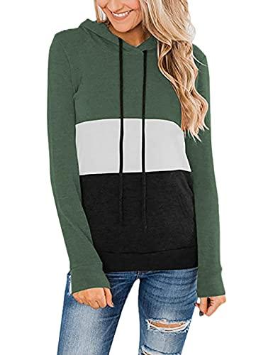 HESUUIO Sudadera con capucha para mujer, diseño de patchwork, tamaño grande, manga larga, con capucha, verde, L