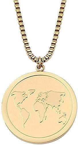 banbeitaotao Collar, Collar, Globo, Mapa del Mundo, Collares Pendientes para Hombres, Mujeres, Caja de Acero, Collar de Cadena, joyería de Viaje, Regalos de Amistad
