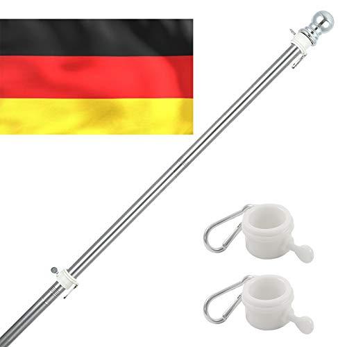 INFLATION Fahnenmast Aluminium, Edelstahl 150-180CM Fahnenstange kit mit Drehbaren Ringen, inkl 150 * 90cm Deutschlandfahne,5 Verschiedene Fahnen zur Wahl (Mast mit Fahnen,ohne Halterung)