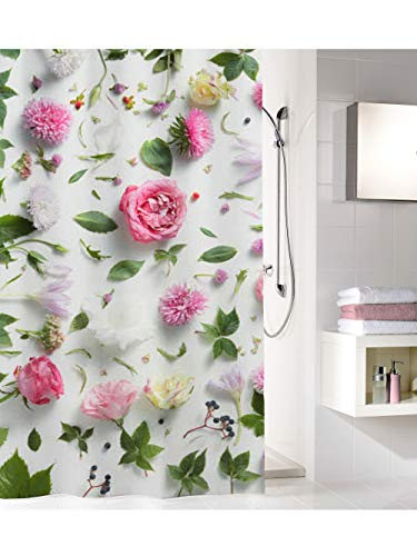 Kleine Wolke Rosalie Duschvorhang, 100prozent Polyester, Multicolor, 180x200 cm